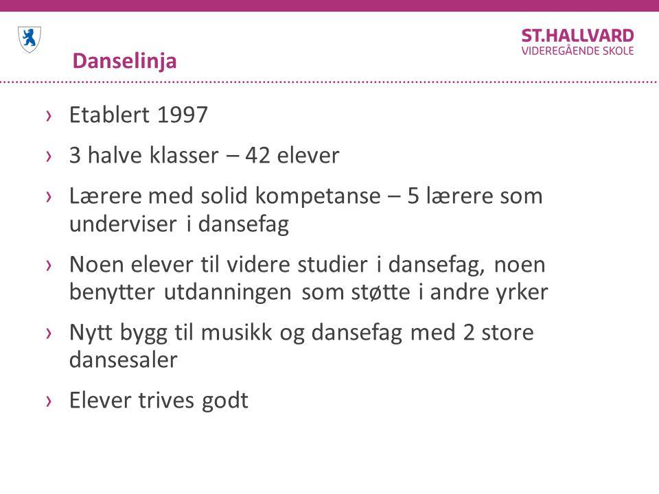 Danselinja ›Etablert 1997 ›3 halve klasser – 42 elever ›Lærere med solid kompetanse – 5 lærere som underviser i dansefag ›Noen elever til videre studi