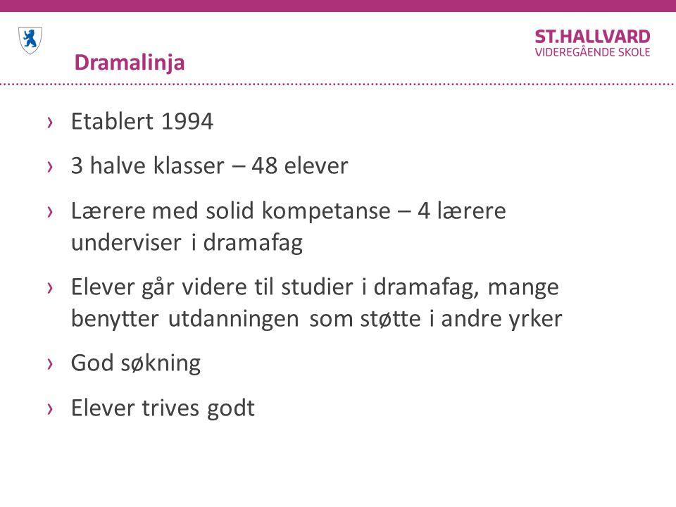 Dramalinja ›Etablert 1994 ›3 halve klasser – 48 elever ›Lærere med solid kompetanse – 4 lærere underviser i dramafag ›Elever går videre til studier i