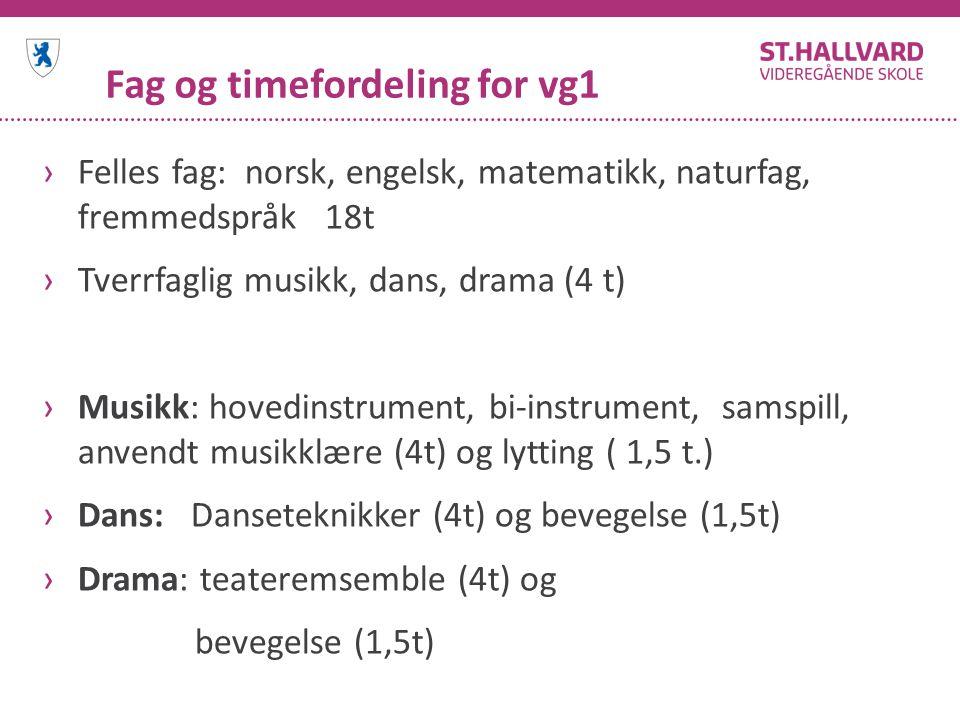Fag og timefordeling for vg1 ›Felles fag: norsk, engelsk, matematikk, naturfag, fremmedspråk 18t ›Tverrfaglig musikk, dans, drama (4 t) ›Musikk: hoved