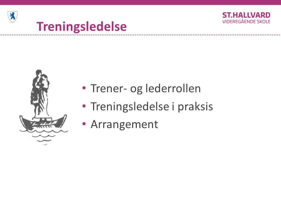 Treningsledelse Trener- og lederrollen Treningsledelse i praksis Arrangement