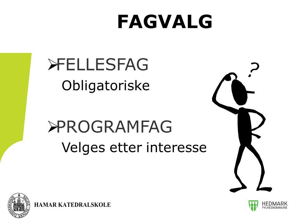  FELLESFAG Obligatoriske  PROGRAMFAG Velges etter interesse FAGVALG