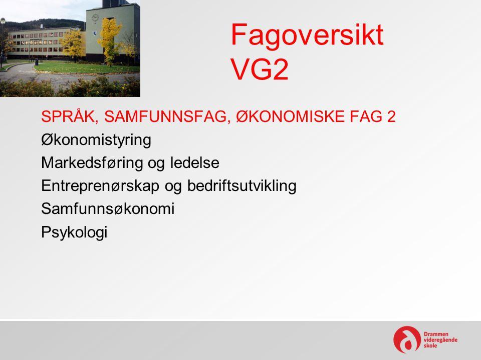 Fagoversikt VG2 SPRÅK, SAMFUNNSFAG, ØKONOMISKE FAG 2 Økonomistyring Markedsføring og ledelse Entreprenørskap og bedriftsutvikling Samfunnsøkonomi Psyk
