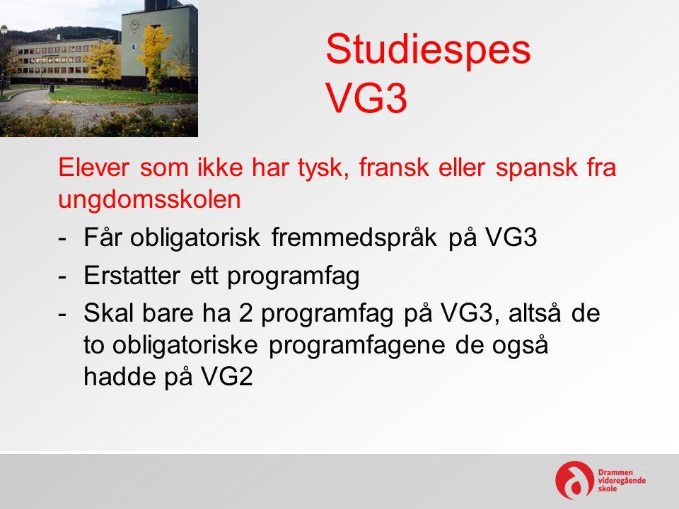 Studiespes VG3 Elever som ikke har tysk, fransk eller spansk fra ungdomsskolen -Får obligatorisk fremmedspråk på VG3 -Erstatter ett programfag -Skal b