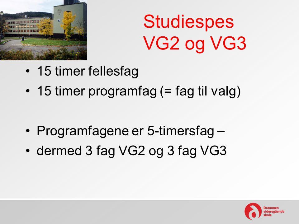 Studiespes VG2 og VG3 15 timer fellesfag 15 timer programfag (= fag til valg) Programfagene er 5-timersfag – dermed 3 fag VG2 og 3 fag VG3