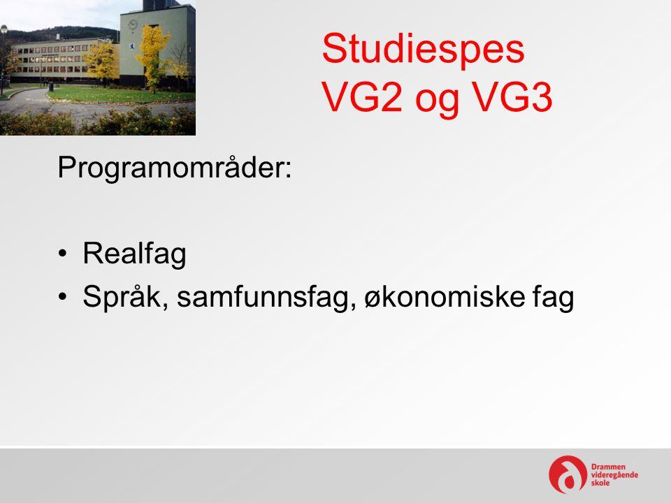 Studiespes VG2 og VG3 Programområder: Realfag Språk, samfunnsfag, økonomiske fag