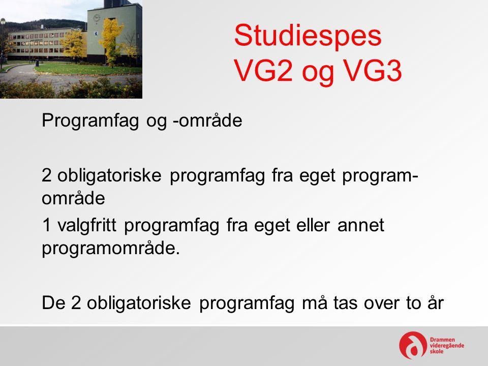 Studiespes VG2 og VG3 Programfag og -område 2 obligatoriske programfag fra eget program- område 1 valgfritt programfag fra eget eller annet programomr