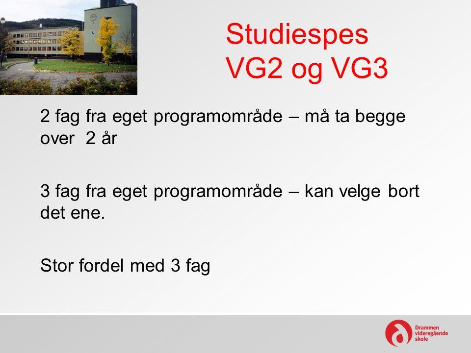 Studiespes VG2 og VG3 2 fag fra eget programområde – må ta begge over 2 år 3 fag fra eget programområde – kan velge bort det ene. Stor fordel med 3 fa