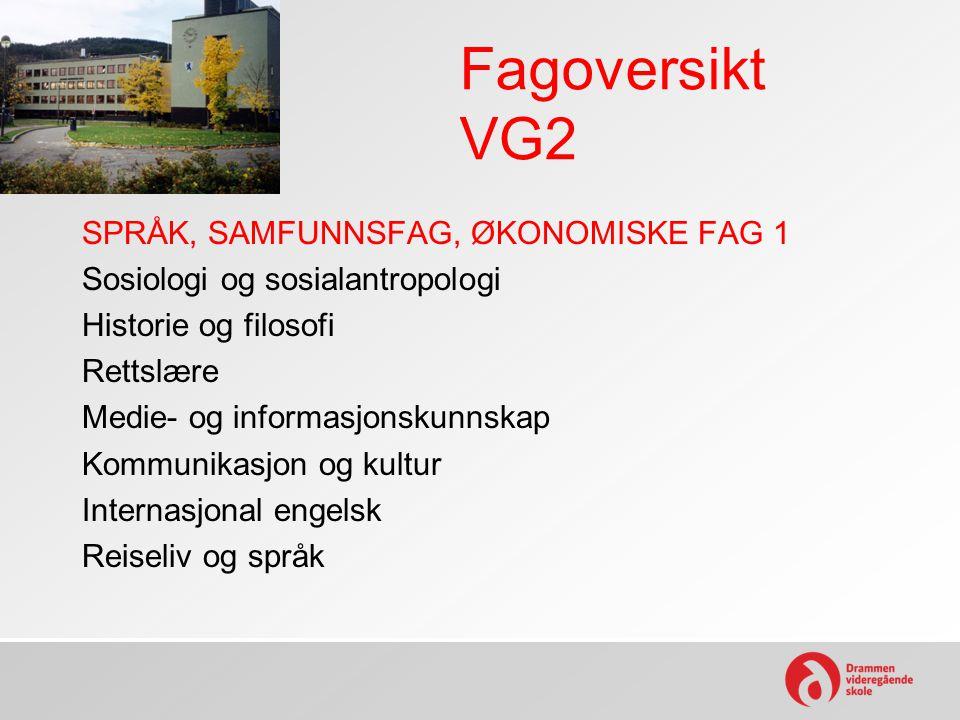 Fagoversikt VG2 SPRÅK, SAMFUNNSFAG, ØKONOMISKE FAG 1 Sosiologi og sosialantropologi Historie og filosofi Rettslære Medie- og informasjonskunnskap Komm