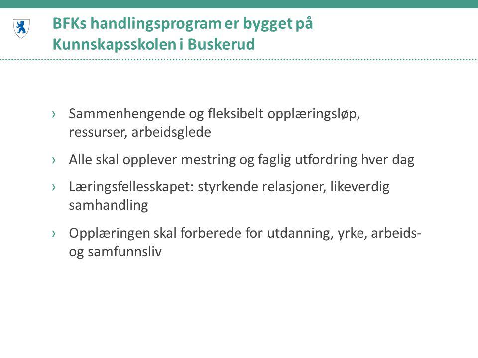 BFKs handlingsprogram er bygget på Kunnskapsskolen i Buskerud ›Sammenhengende og fleksibelt opplæringsløp, ressurser, arbeidsglede ›Alle skal opplever