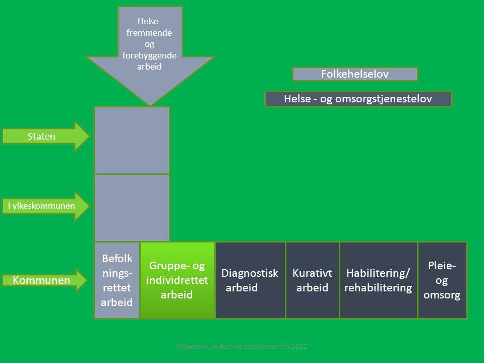 Befolk nings- rettet arbeid Gruppe- og individrettet arbeid Diagnostisk arbeid Kurativt arbeid Habilitering/ rehabilitering Pleie- og omsorg Helse - o