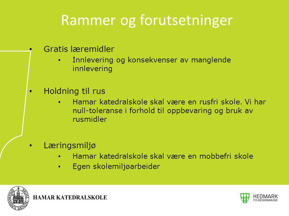 Gratis læremidler Innlevering og konsekvenser av manglende innlevering Holdning til rus Hamar katedralskole skal være en rusfri skole. Vi har null-tol