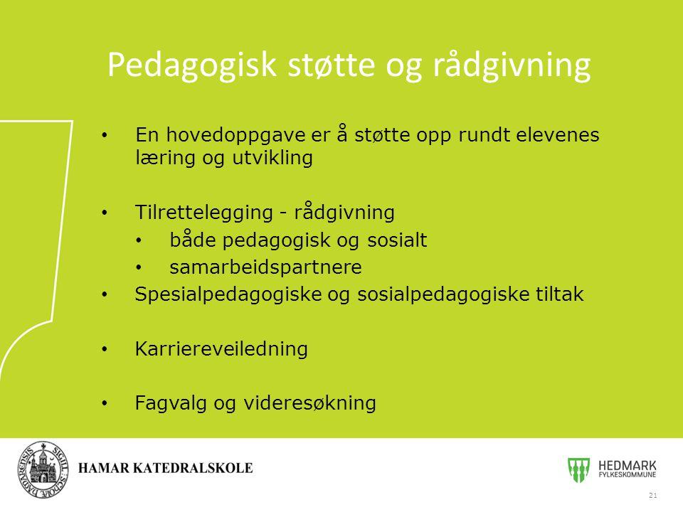 En hovedoppgave er å støtte opp rundt elevenes læring og utvikling Tilrettelegging - rådgivning både pedagogisk og sosialt samarbeidspartnere Spesialp