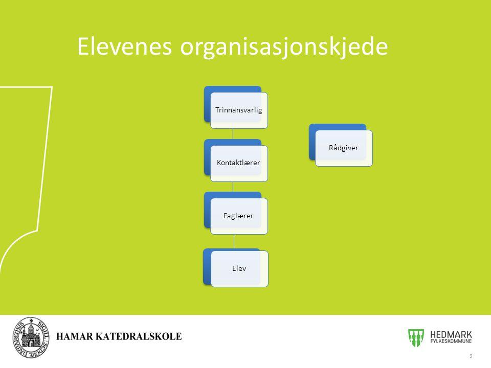 9 Elevenes organisasjonskjede TrinnansvarligKontaktlærerFaglærerRådgiver Elev