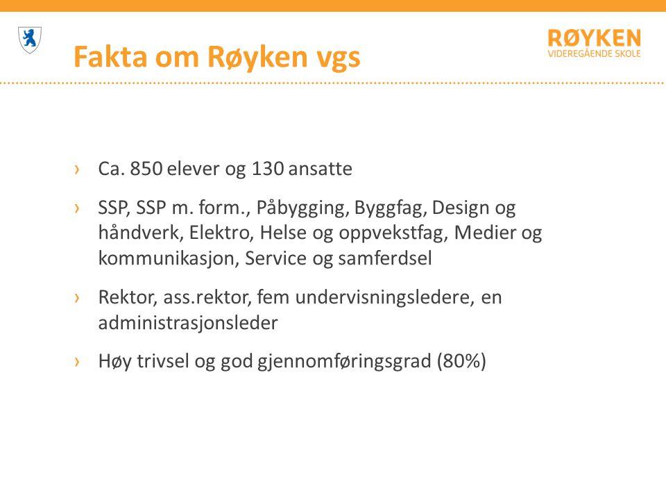 Fakta om Røyken vgs ›Ca.850 elever og 130 ansatte ›SSP, SSP m.