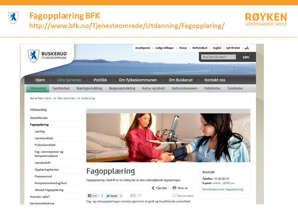 Fagopplæring BFK http://www.bfk.no/Tjenesteomrade/Utdanning/Fagopplaring/