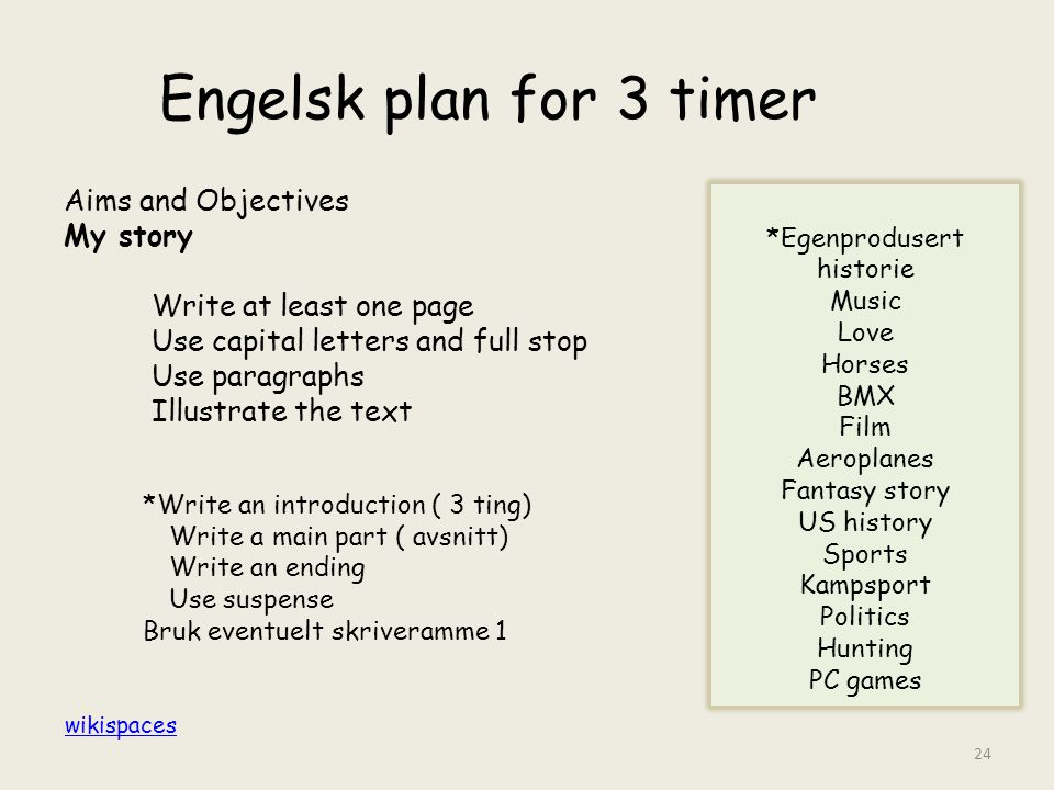 Engelsk plan for 3 timer Aims and Objectives My story Write at least one page Use capital letters and full stop Use paragraphs Illustrate the text *Eg