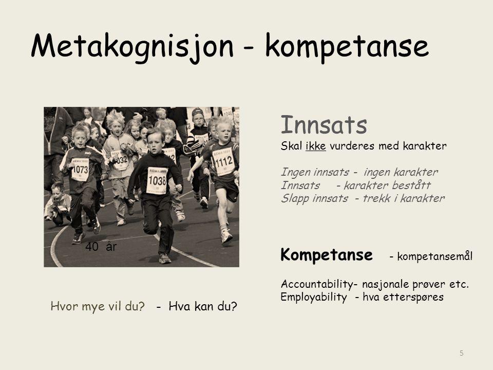 Metakognisjon - kompetanse Innsats Skal ikke vurderes med karakter Ingen innsats - ingen karakter Innsats - karakter bestått Slapp innsats - trekk i k