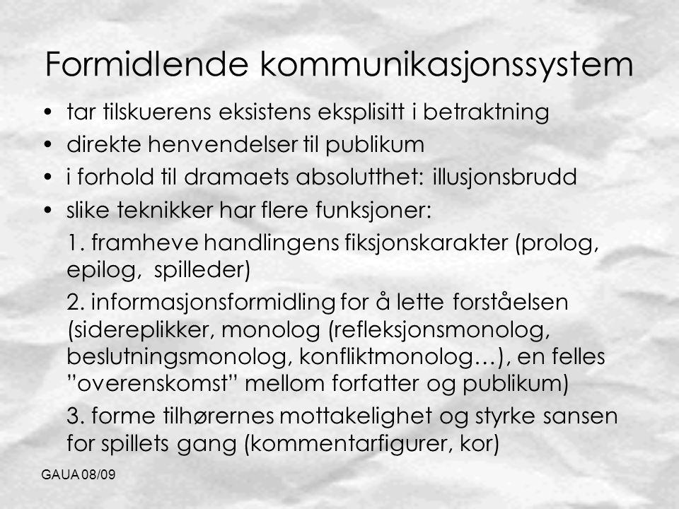 GAUA 08/09 Formidlende kommunikasjonssystem tar tilskuerens eksistens eksplisitt i betraktning direkte henvendelser til publikum i forhold til dramaet