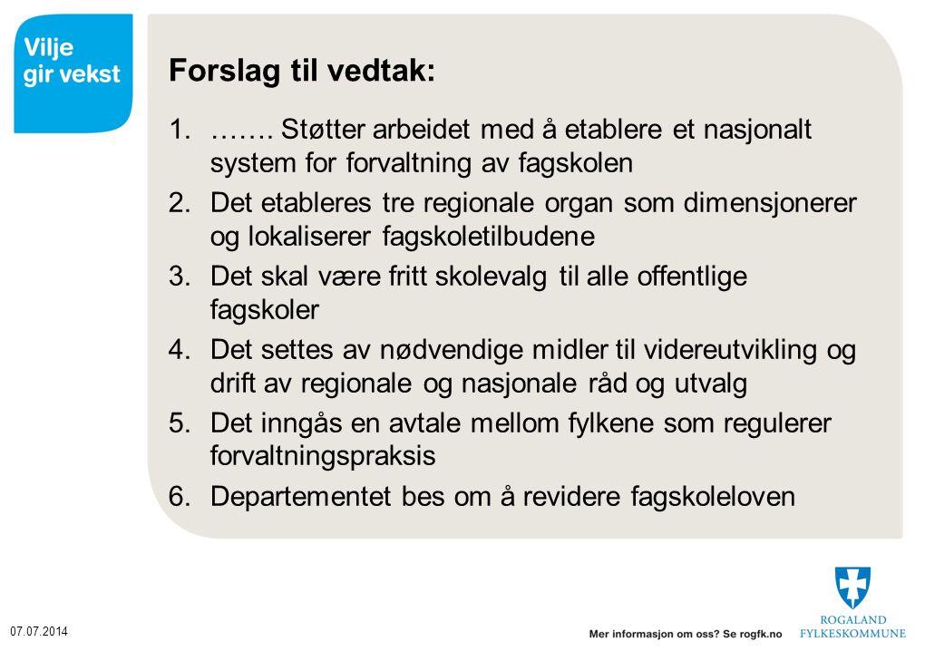 07.07.2014 Forslag til vedtak: 1.…….