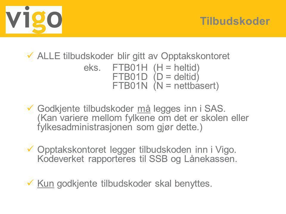 ALLE tilbudskoder blir gitt av Opptakskontoret eks.FTB01H (H = heltid) FTB01D (D = deltid) FTB01N (N = nettbasert) Godkjente tilbudskoder må legges in