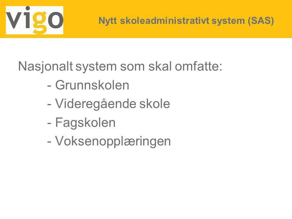 Nasjonalt system som skal omfatte: - Grunnskolen - Videregående skole - Fagskolen - Voksenopplæringen Nytt skoleadministrativt system (SAS)