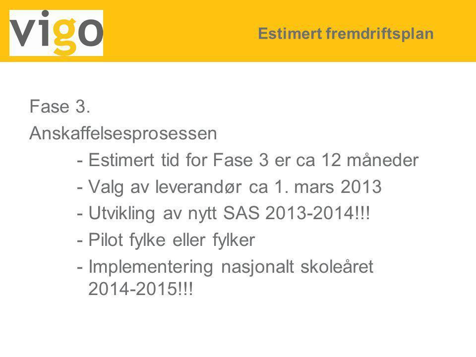 Fase 3. Anskaffelsesprosessen - Estimert tid for Fase 3 er ca 12 måneder - Valg av leverandør ca 1. mars 2013 - Utvikling av nytt SAS 2013-2014!!! - P