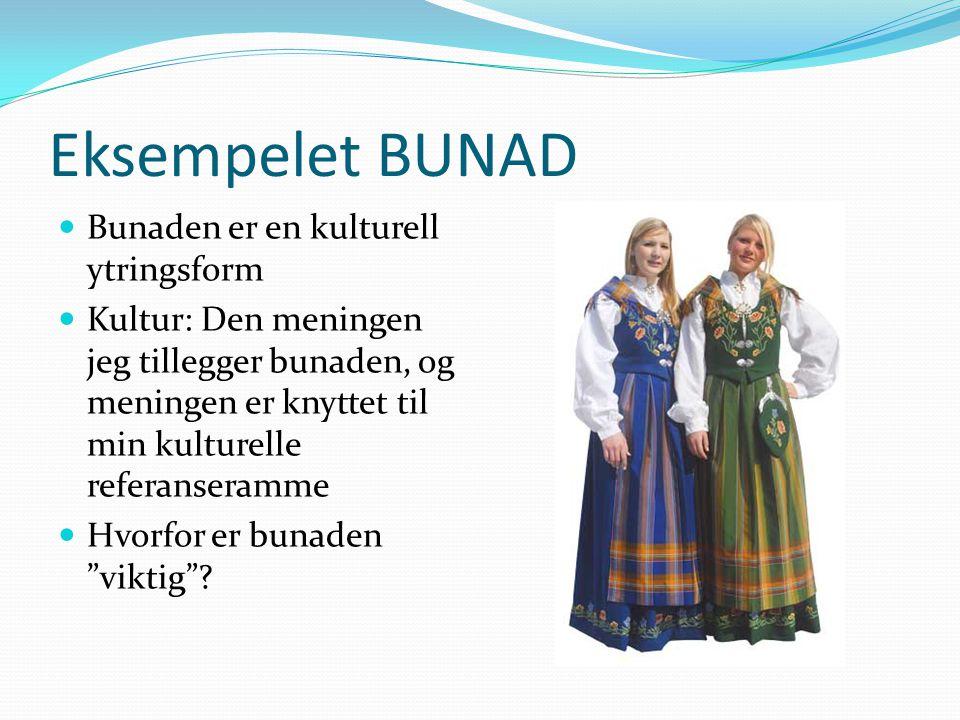 Eksempelet BUNAD Bunaden er en kulturell ytringsform Kultur: Den meningen jeg tillegger bunaden, og meningen er knyttet til min kulturelle referansera