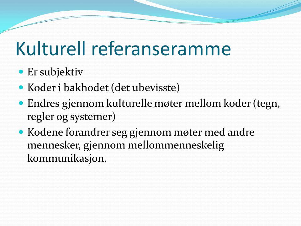 Kulturell referanseramme Er subjektiv Koder i bakhodet (det ubevisste) Endres gjennom kulturelle møter mellom koder (tegn, regler og systemer) Kodene