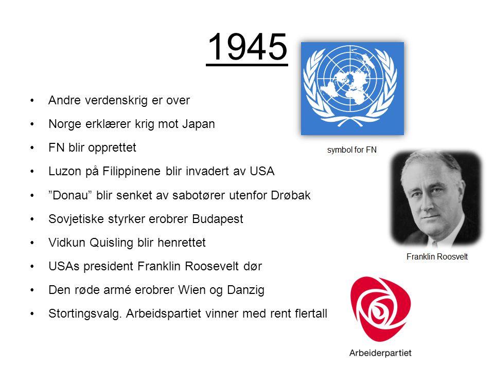 """1945 Andre verdenskrig er over Norge erklærer krig mot Japan FN blir opprettet Luzon på Filippinene blir invadert av USA """"Donau"""" blir senket av sabotø"""