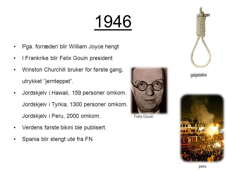 """1946 Pga. forræderi blir William Joyce hengt I Frankrike blir Felix Gouin president Winston Churchill bruker for første gang, utrykket """"jernteppet"""". J"""