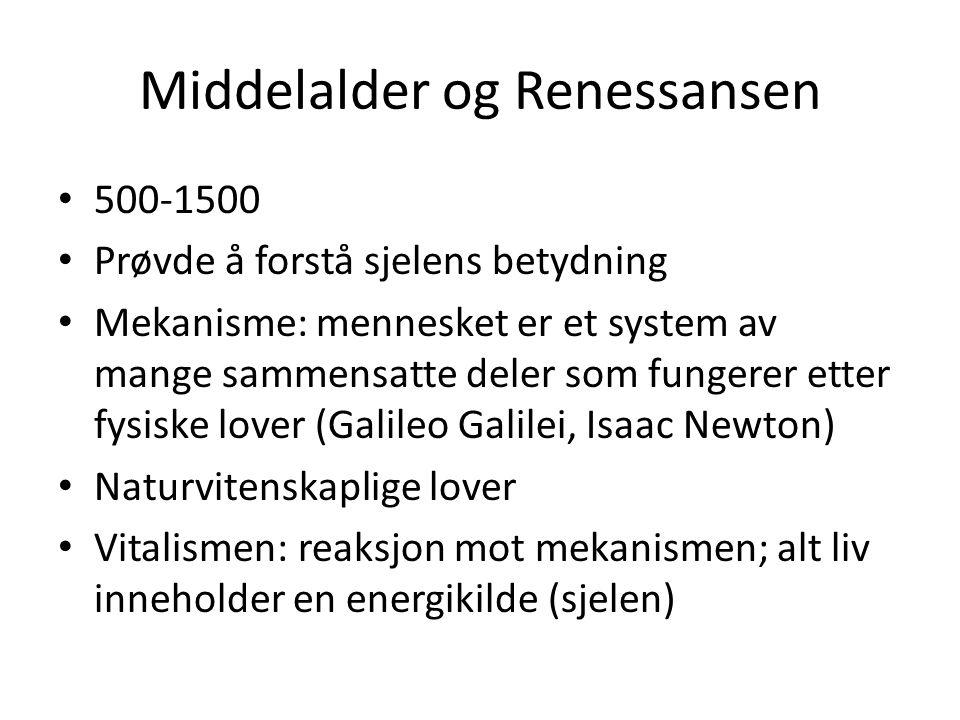 Middelalder og Renessansen 500-1500 Prøvde å forstå sjelens betydning Mekanisme: mennesket er et system av mange sammensatte deler som fungerer etter