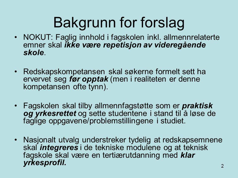 2 Bakgrunn for forslag NOKUT: Faglig innhold i fagskolen inkl. allmennrelaterte emner skal ikke være repetisjon av videregående skole. Redskapskompeta