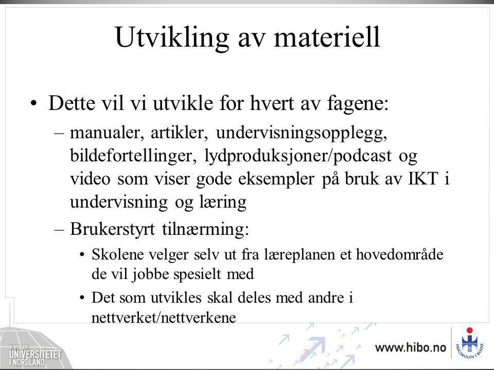 IKT i naturfag, matematikk og norsk Felles for alle fag: –Digital mappevurdering med tydelige vurderingskriterier/ kjennetegn –Aksjonslæring/ erfaringslæring for spredning (skoleldelse) –Klasseledelse Fagspesifikke utfordringer i bruk av IKT i følge LK -06: –Naturfag –Matematikk –Norsk Fagdidaktisk IKT- kompetanse: –Naturfagdidaktikk +IKT –Mattematikkdidaktikk + IKT –Norskdidaktikk +IKT