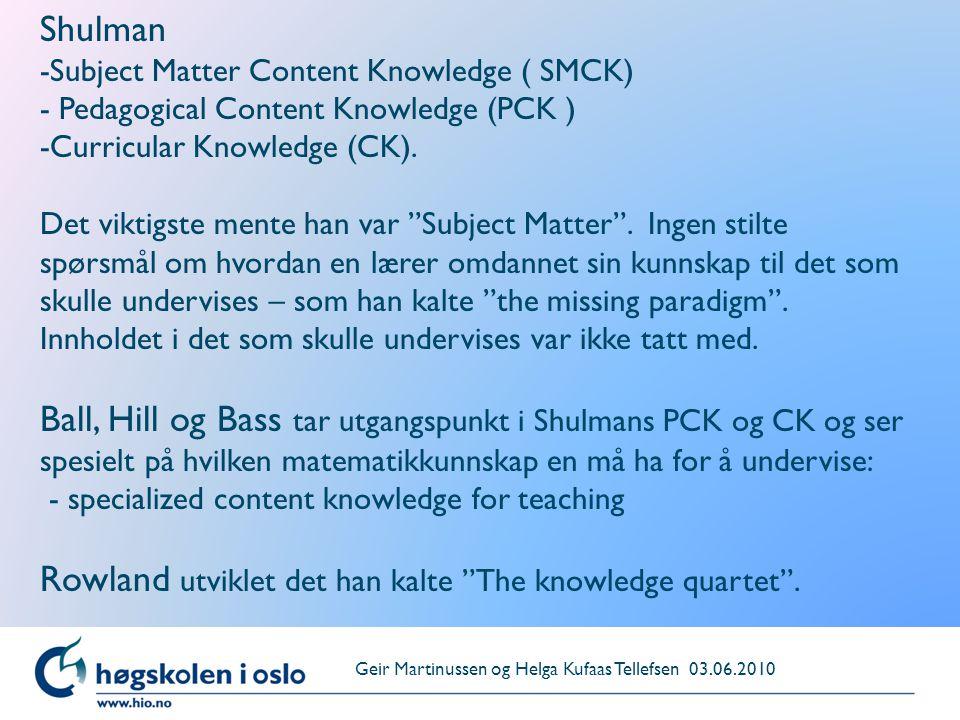 "Shulman -Subject Matter Content Knowledge ( SMCK) - Pedagogical Content Knowledge (PCK ) -Curricular Knowledge (CK). Det viktigste mente han var ""Subj"