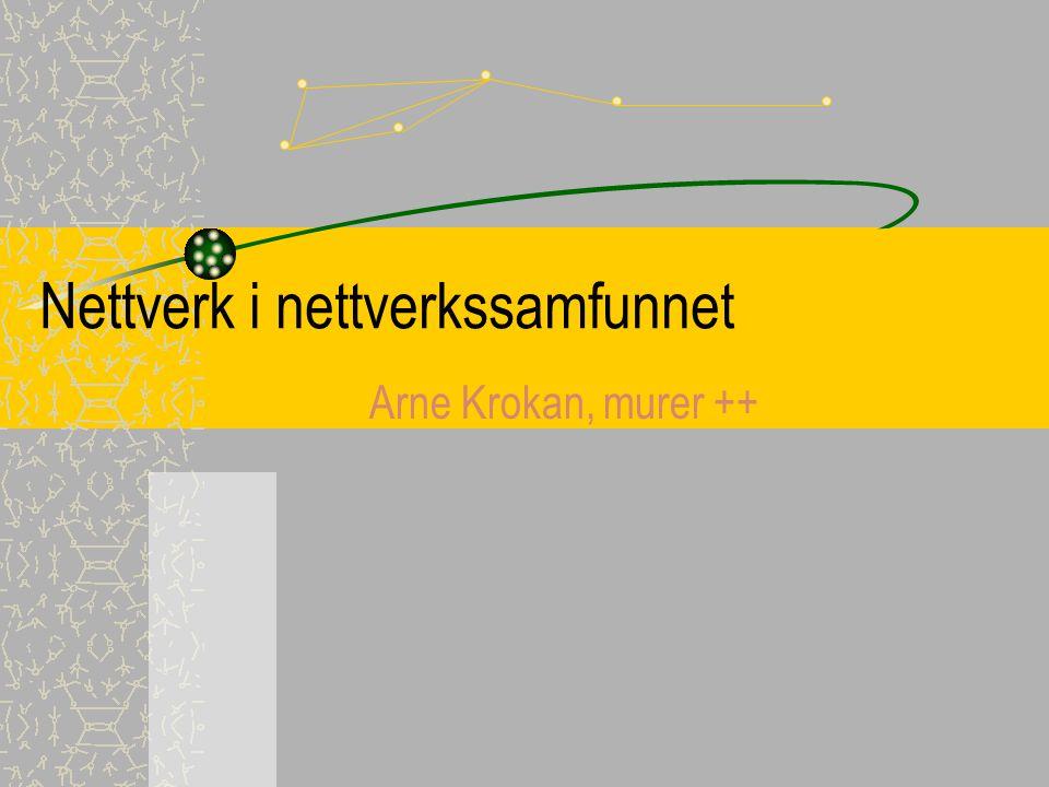 Nettverk i nettverkssamfunnet Arne Krokan, murer ++