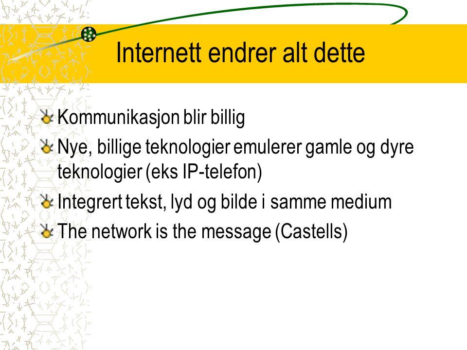 Internett endrer alt dette Kommunikasjon blir billig Nye, billige teknologier emulerer gamle og dyre teknologier (eks IP-telefon) Integrert tekst, lyd