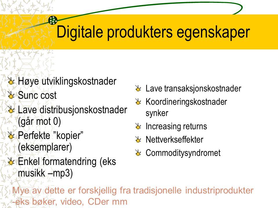 """Digitale produkters egenskaper Høye utviklingskostnader Sunc cost Lave distribusjonskostnader (går mot 0) Perfekte """"kopier"""" (eksemplarer) Enkel format"""