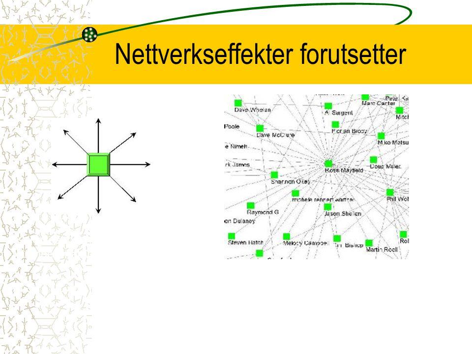 Nettverkseffekter forutsetter Alle-til-alle-forbindelser Kringkastingsmodellen gir ingen nettverkseffekter!