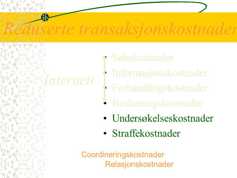 Reduserte transaksjonskostnader Søkekostnader Informasjonskostnader Forhandlingskostnader Beslutningskostnader Undersøkelseskostnader Straffekostnader