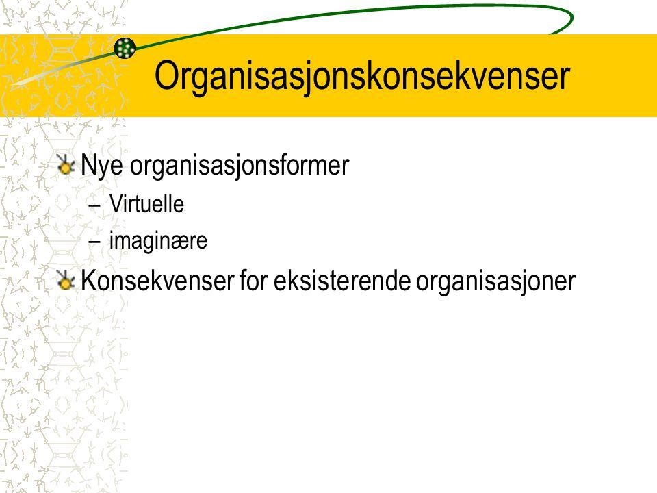 Organisasjonskonsekvenser Nye organisasjonsformer –Virtuelle –imaginære Konsekvenser for eksisterende organisasjoner