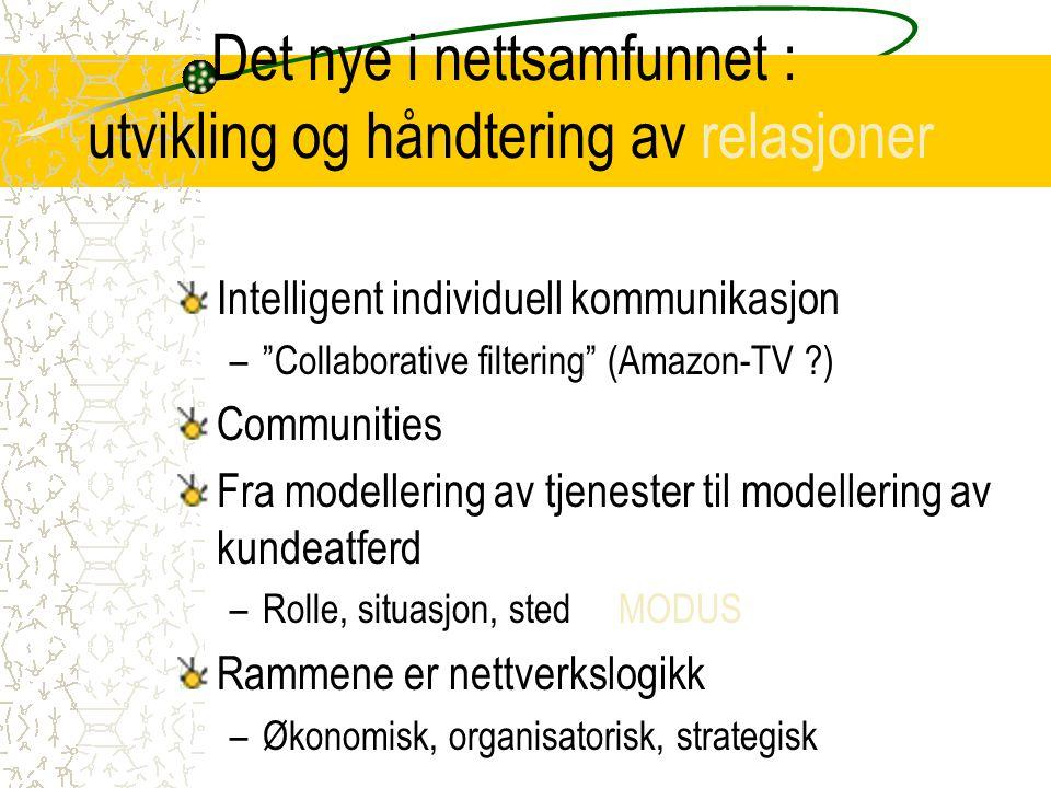 """Det nye i nettsamfunnet : utvikling og håndtering av relasjoner Intelligent individuell kommunikasjon –""""Collaborative filtering"""" (Amazon-TV ?) Communi"""