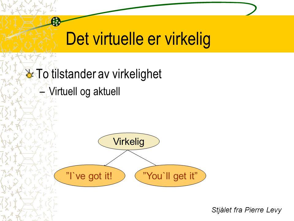 """Det virtuelle er virkelig To tilstander av virkelighet –Virtuell og aktuell Virkelig AktuellVirtuell """"I`ve got it!""""You`ll get it"""" Stjålet fra Pierre L"""