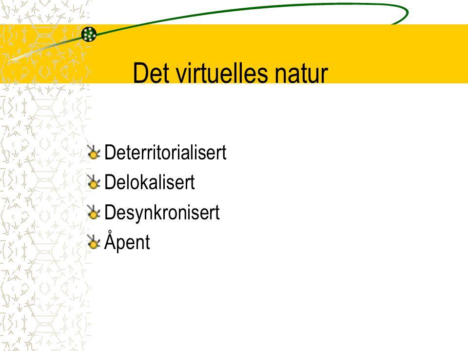 Det virtuelles natur Deterritorialisert Delokalisert Desynkronisert Åpent
