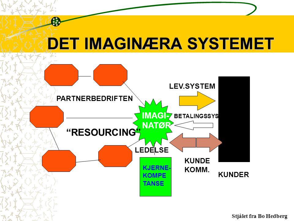 "KUNDER LEV.SYSTEM KUNDE KOMM. KUNDE- BASE PARTNERBEDRIFTEN IMAGI- NATØR KJERNE- KOMPE TANSE LEDELSE ""RESOURCING"" BETALINGSSYSTEM DET IMAGINÆRA SYSTEME"