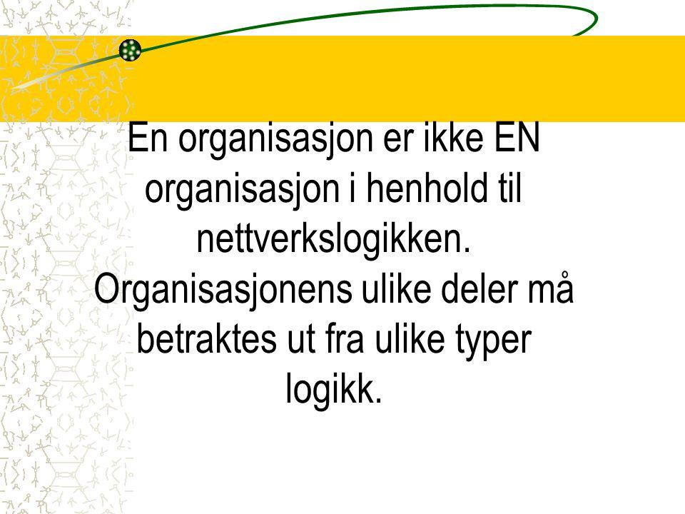 En organisasjon er ikke EN organisasjon i henhold til nettverkslogikken. Organisasjonens ulike deler må betraktes ut fra ulike typer logikk.