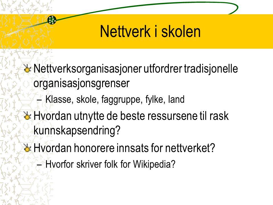 Nettverk i skolen Nettverksorganisasjoner utfordrer tradisjonelle organisasjonsgrenser –Klasse, skole, faggruppe, fylke, land Hvordan utnytte de beste