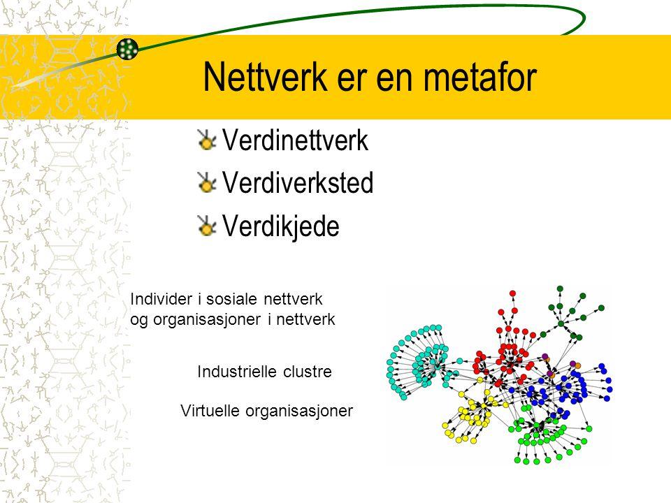 Nettverk er en metafor Verdinettverk Verdiverksted Verdikjede Individer i sosiale nettverk og organisasjoner i nettverk Industrielle clustre Virtuelle