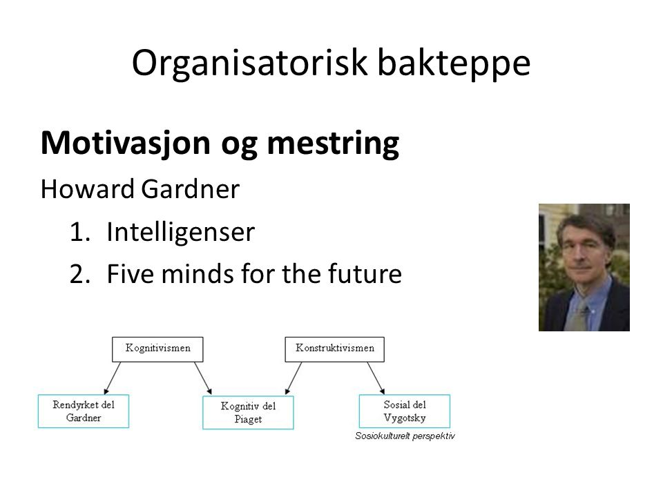 Organisatorisk bakteppe Motivasjon og mestring Howard Gardner 1.Intelligenser 2.Five minds for the future