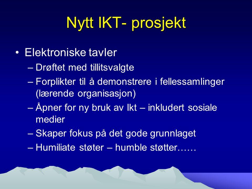Nytt IKT- prosjekt Elektroniske tavler –Drøftet med tillitsvalgte –Forplikter til å demonstrere i fellessamlinger (lærende organisasjon) –Åpner for ny