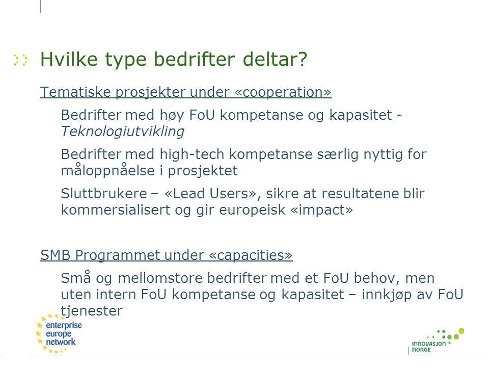 Hvilke type bedrifter deltar? Tematiske prosjekter under «cooperation» Bedrifter med høy FoU kompetanse og kapasitet - Teknologiutvikling Bedrifter me